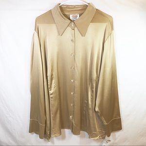 NWT Talbots Gold Silk Button Down Blouse Sz 20W